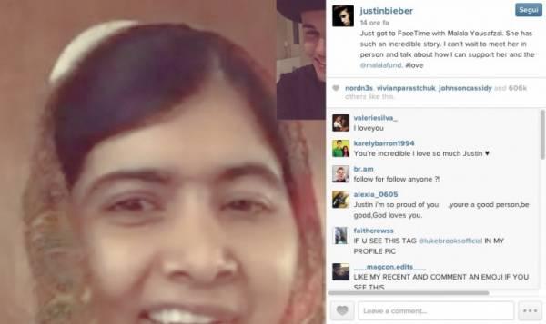 پاپ اسٹارجسٹس بیبرکی ملالہ سےویڈیو چیٹ،ملاقات کااظہارکرڈالا