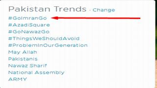 پاکستان میںTwitter ٹاپ ٹرینڈ GO Imran Go
