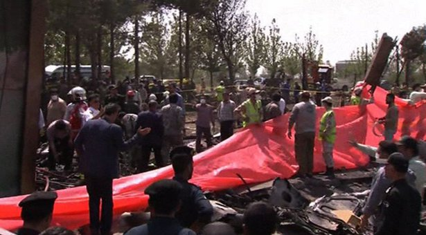 Plane crashes at Tehran's Mehrabad airport, 48 reported dead