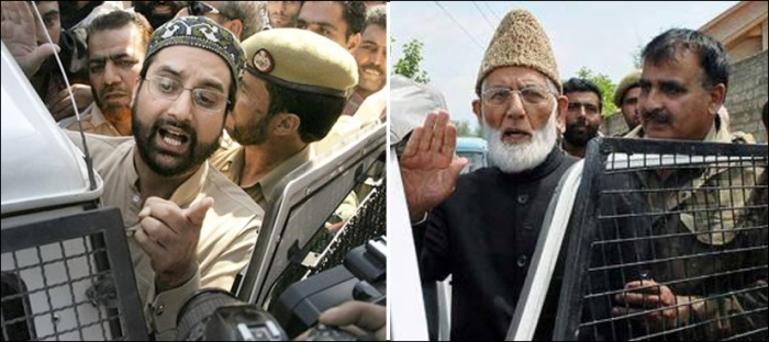 حریت پسند کشمیر رہنما میر واعظ عمر فاروق اور سید علی گیلانی گرفتار