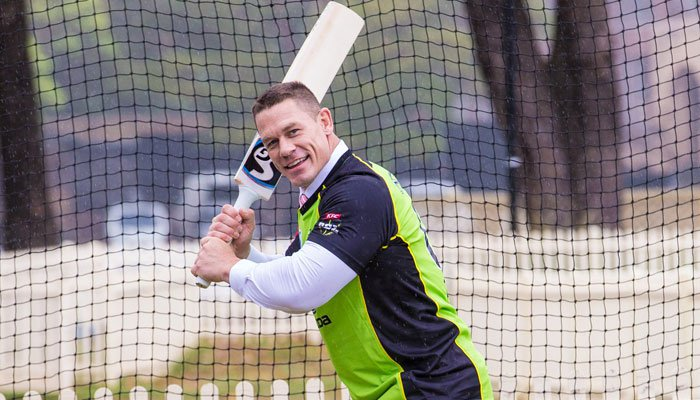 WWE star John Cena gets cricket tips from Shane Watson